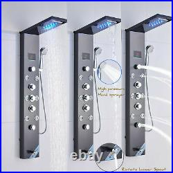 ELLO&ALLO Shower Panel Tower System Black LED Rainfall Shower Massage System Tap
