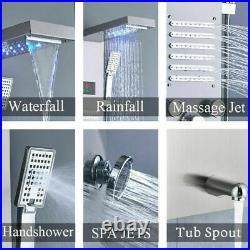 ELLO&ALLO Shower Panel Tower System Brushed Nickel LED Rainfall Massage Jets Tap