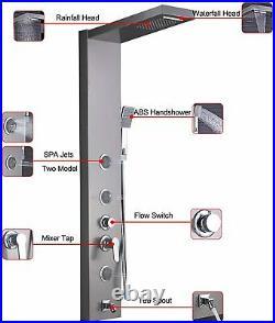 ELLO&ALLO Shower Panel Tower System Brushed Nickel Rainfall Massage Body Jet Tap