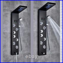 ELLO&ALLO Shower Panel Tower System LED Rain&Waterfall Massage Body Jets Spraye
