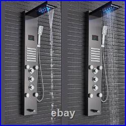 ELLO&ALLO Shower Panel Tower System LED Rainfall Waterfall Massage Jets Sprayer