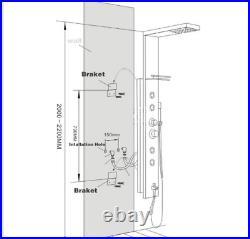 ELLO&ALLO Shower Panel Tower System Stainless Steel LED Rainfall Massage Jet Tap