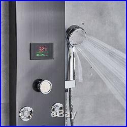ELLO&ALLO Stainless Steel LED Rain Waterfall Shower Panel Tower Rain Massage Jet