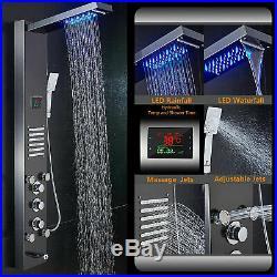 ELLO&ALLO Stainless Steel LED Shower Panel Rain Waterfall Tower Massager System