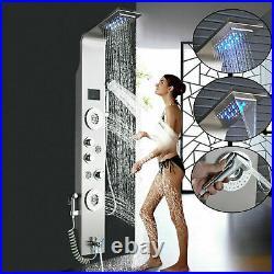 ELLO&ALLO Stainless Steel LED Shower Panel Tower Massage Jets Hand Shower Mixer