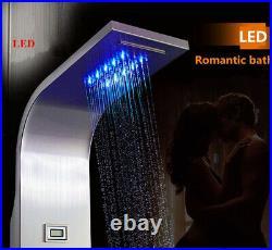 ELLO&ALLO Stainless Steel LED Shower Panel Tower Rain Massage System Body Jets