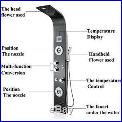 ELLO&ALLO Stainless Steel Rainfall Waterfall Shower Panel Tower Rain Massage Jet