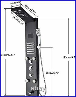 ELLO&ALLO Stainless Steel Shower Panel LED Tower System Rain Massage Jets Black