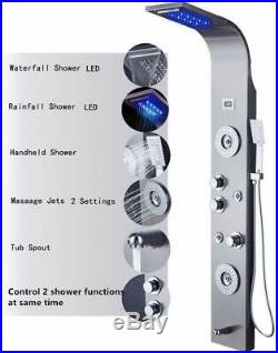 ELLO&ALLO Stainless Steel Shower Panel Tower System LED Rainfall Brushed Nickel