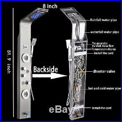 ELLO&ALLO Stainless Steel Shower Panel Tower System, LED Rainfall Waterfall Showe