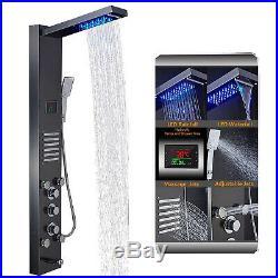 ELLO&ALLO Stainless Steel Shower Panel Tower System, Rain Massage Jets LED Light