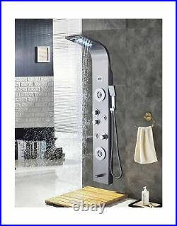 Ello&Allo Stainless Steel Shower Panel Tower LED Rainfall Brushed Nickel 6025F10