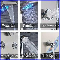 FUZ Contemporary Shower Panel Tower System Stainless Steel 6-Function Faucet