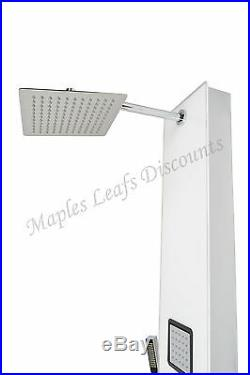 Glass & Aluminum Shower Tower Massage Jets Spa Panel Rainfall Head Bath Faucet