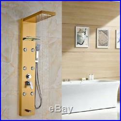 Gold Bathroom Wall Mounted Shower Column Panel&Hand Spray Massage Jets Taps Kit