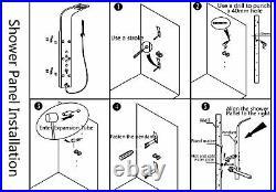 Gold Massage Jets Rain Shower Column Mixer Shower Faucet Tub Spout Shower Panel