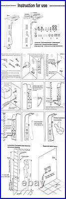 Gold Shower Panel Column Rain Spout Heads Hand Shower Thermostatic Tub Mixer Tap