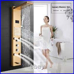 Gold Shower Panel Tower Rainfall Waterfall Showerhead with Massage Jets System