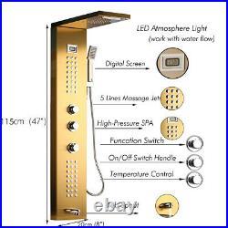 Gold Waterfall Rain Shower Column Massage Jet Sprayer Shower Panel Shower Set
