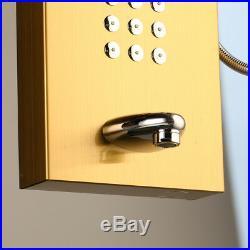 Golden Wall Mount Shower Panel Column Massage Body Jets Hand Shower Faucet Tap