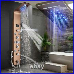 Hydropower Led Shower Panel Tower Column Waterfall Complete System Unit Massage Shower Panel Tower