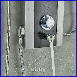 LED Black Shower Panel Column Tower Massage Jets Waterfall Bathroom Shower Set
