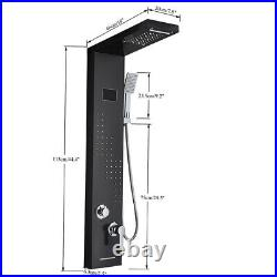 LED Black Shower Panel Column Tower with Massage Body Jets Bathroom Mixer Taps