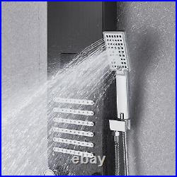 LED Black Shower Panel Tower with Hydromassage Jet, Handheld shower and Tub Spout