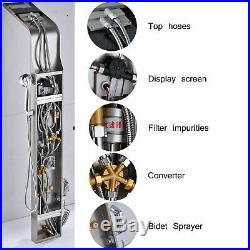 LED Brushed Nickel Multifunctional Shower Faucet Panel Shower Column Massage Jet