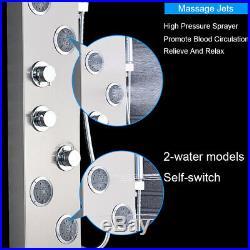 LED Brushed Nickel Shower Panel Column Massage Jets Shower Luxury Shower Tower