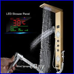 LED Gold Stainless Steel Shower Panel Tower With Body Jets System Sprayer Mixer
