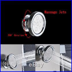 LED Head Shower Panel Column Wall Mount Massage Jets Hand Sprayer Set Nickel Tap