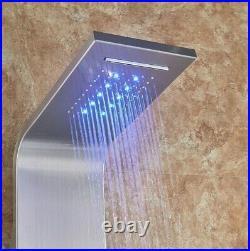 LED Light ModernShower Bathroom SPA Massage Jet Shower Column System Waterfall