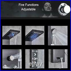 LED Light Rainfall Waterfall Shower Panel Tower Rain Massage System with Black