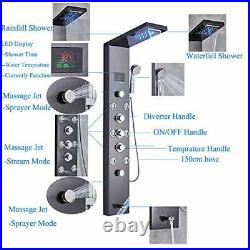 LED Light Rainfall Waterfall Shower Panel Tower Rain Massage System with Jets, H