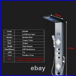LED Massage Jet 5 Ways Shower Panel Column Tower Hand Shower Set Mixer Taps UK