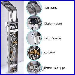 LED Massage Shower Panel Column Body Jets Stainless Steel Bathroom Mixer Unit UK