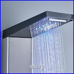 LED Rain Shower Panel Column Tower Hand Shower Sprayer Mixer Taps Massage Jet