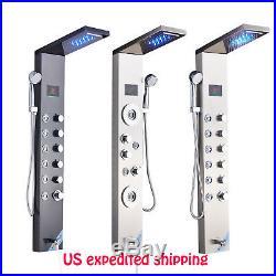 LED Rain&Waterfall Shower Panel Tower Spa Massage System Hand Sprayer Mixer Tap