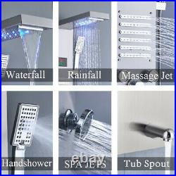 LED Rainfall Shower Panel Tower Faucet Stainless Steel Massage Body Jets System
