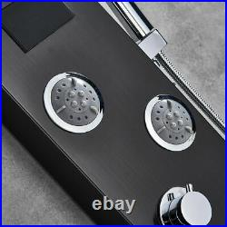 LED Rainfall Shower Panel Tower Oil Rubbed Bronze Faucet Massage Body Jet System