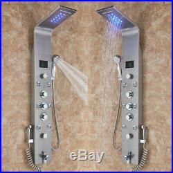 LED Shower Panel Column 8 Massage Body Jets Stainless Steel Bathroom Mixer Unit