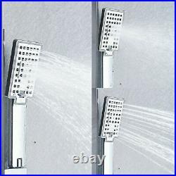 LED Shower Panel Column Black Shower Head Rainfall & Waterfall Stainless Steel