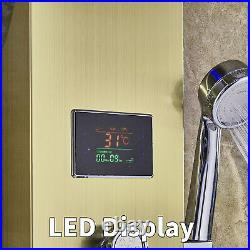 LED Shower Panel Column Gold Tower withBody Jets Waterfall Bathroom Shower UK