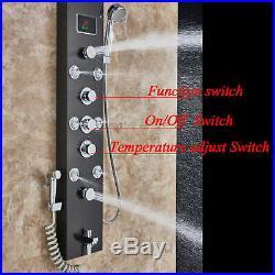 LED Shower Panel Column Massage Jets Tub Spout Hand Shower Sprayer Mixer Tap Set