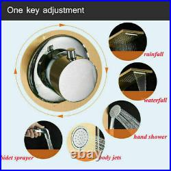 LED Shower Panel Column Rainfall Massage Jets Hand Shower Tub Spout Tap Mixer