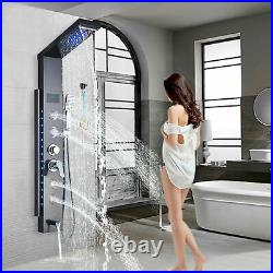 LED Shower Panel Column Shower Head Rainfall & Waterfall Stainless Steel Black