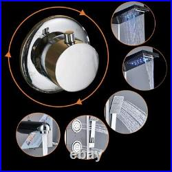 LED Shower Panel Column Stainless Steel 4 Massage Body Jets Bathroom Mixer Black