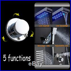 LED Shower Panel Column System Water Tower Temperature Screen with Shower Hand