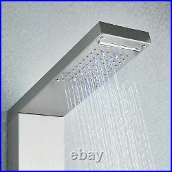 LED Shower Panel Column Tower Handheld Spray Bathroom 8 Massage Jets Nickel UK